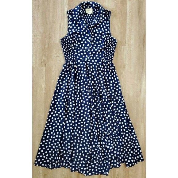 Kate Spade Womens Cloud Dot Blue White Dress 10